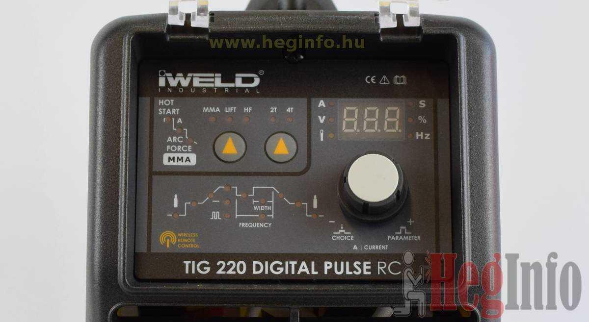 Iweld TIG 220 Digital Pulse RC inverteres hegesztőgép kezelőfelülete
