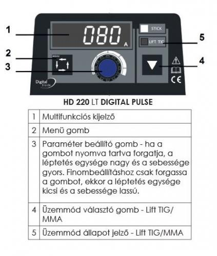 hd 220 digital kezelofelulet